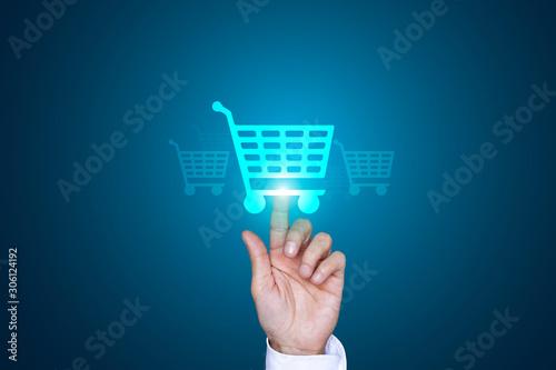 mano, dito, acquisti, click, cliccare, shopping Canvas Print