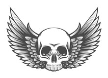 Human Skull With Wings Engravi...