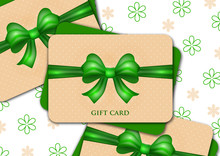Gift Card (discount Card, Business Card) With A Large Bright Bow On A Floral Background. Festive Abstract Background, Design For Invitation, Ticket, Certificate.