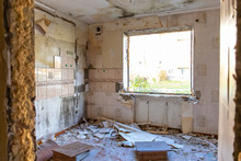 Interior Of An Uninhabited Abandoned Ruined Apartment