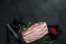 Raw Bacon On A Stone Chopping ...