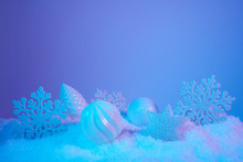 Christmas Baubles Decoration In Vivid Neon Colors. Christmas Background Concept.