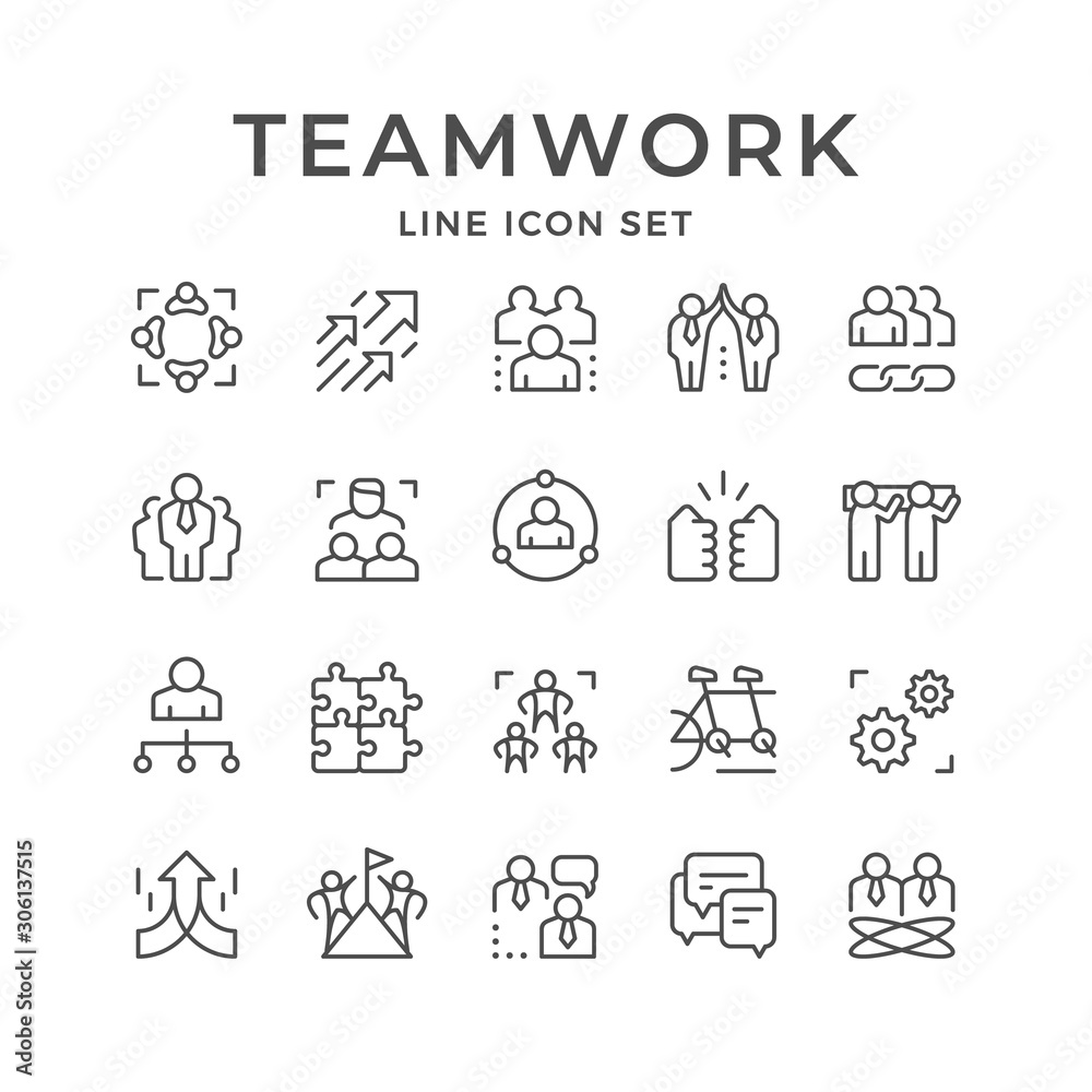 Fototapeta Set line icons of teamwork