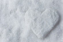 Snow Heart On White Snow. Shal...