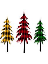 Buffalo Plaid Christmas Trees On White Background
