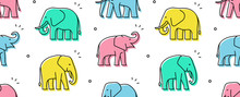 Seamless Pattern With Elephant...