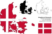 Denmark Vector Map, Flag, Borders, Mask , Capital, Area And Population Infographic