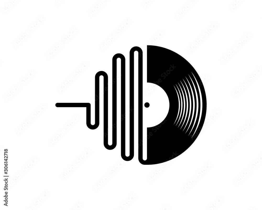 Fototapeta Records disc and audio wave