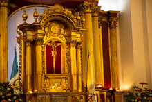Close Up Of Jesus Crucified In Altar Catholic Church - Cathedral San Jose Antigua Guatemala Inside - Baroque Architecture, Communion Table