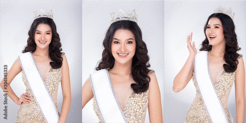 Fototapety, obrazy: Portrait of Miss Asian Pageant Beauty Contest in sequin Evening Ball Gown long dress with sparkle light Diamond Crown, studio lighting gray background, collage group pack of half body face