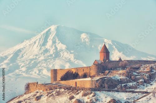 Ancient Armenian church Khor Virap with Ararat close up, Armenia Canvas Print