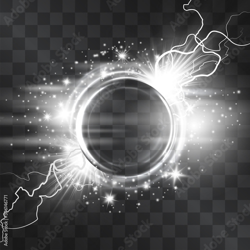 Papel de parede Light effect silver circle frame with glowing tail of shining stardust sparkles, lightgnings, cold illumination
