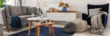 Panoram Of Brigh Living Room With Grey And Navy Blue Color Accents