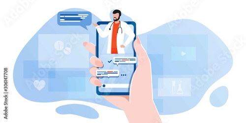 Fotografija smartphone screen with male therapist on chat in messenger and an online consultation