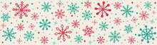 Christmas Ornament With Snowflakes. Panoramic Header With Xmas Decoration. Vector