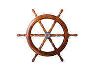 Old Ship Vintage, Wooden Steering Wheel Isolated On White Background