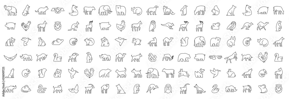 Fototapeta Linear collection of Animal icons. Animal icons set. Isolated on White background