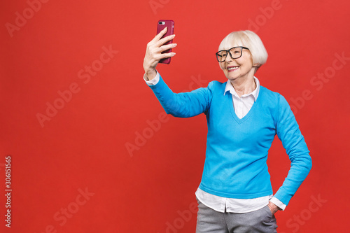 It S Selfie Time Image Of Cheerful Mature Old Woman Standing