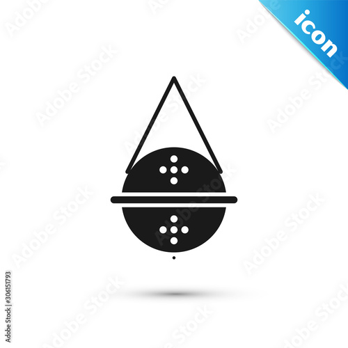 Obraz na plátne Black Ball tea strainer icon isolated on white background