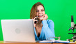 canvas print picture - Education concept. Student life. Calling friend. Online remote classes. Buy online. Doing her homework. Talking instead of studying. Girl pretty attractive student with laptop. Modern student girl