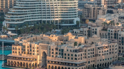 Dubai downtown with fountains area near mall and souk timelapse. Wallpaper Mural