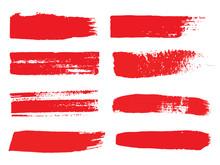 Set Of Grunge Red Brush Stroke On White Background. Hand Drawn Vector Brush Paintings