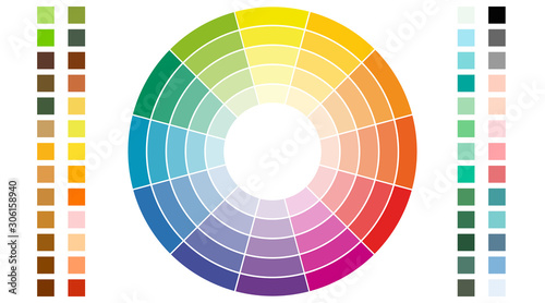 Color scheme. Circular color scheme with warm and cold colors. Vector illustration of a color - fototapety na wymiar