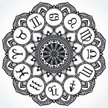 Ornamental Design Zodiac Circle Black White Background