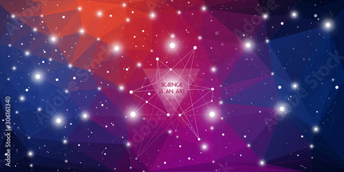Photo Widescreen futuristic technology illustration in front of outer space background with copy space