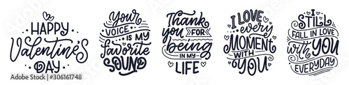 Set with slogans about love in beautiful style. Vector abstract lettering compositions. Trendy graphic design for prints and cards. Motivation posters. Calligraphy text for Valentine's Day.
