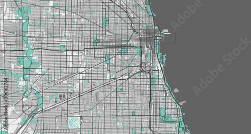 Fototapeta Detailed map of Chicago, USA