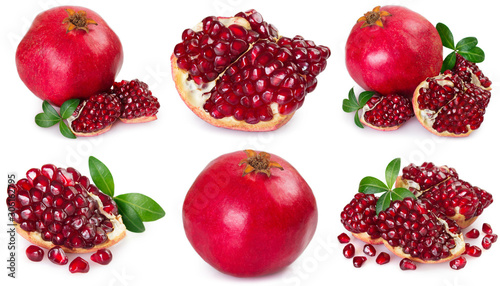 Fototapeta Collection of fresh pomegranate on white background