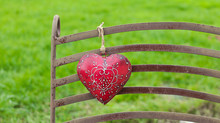 Red Heart With White Ornament ...