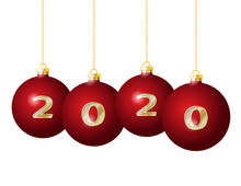 2020 Golden Numbers On Red Christmas Balls Hanging On Golden Chains