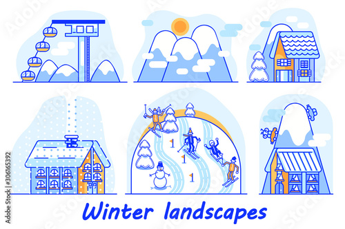 Winter views are divided into six episodes, each of which can be animated Fototapet