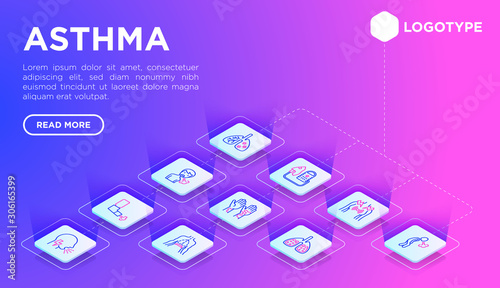 Fotografija Asthma web page template with thin line isometric icons: allergen, dyspnea, cough, wheezing, chest pain, diaphragm, asthma attack, sputum, peak flow meter, inhaler, nebulizer