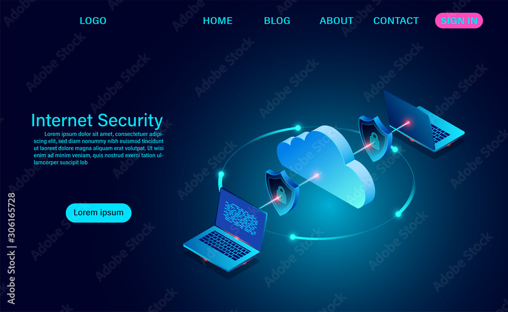 Fototapeta Internet security with data transfer information. protects data from thefts data and hacker attacks. isometric flat design. Vector illustration