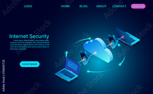 Stampa su Tela Internet security with data transfer information