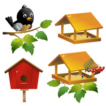 Color Images Of Cartoon Bird With Birdhouse And Of Feeder On White Background. Vector Illustration Set For Kids.