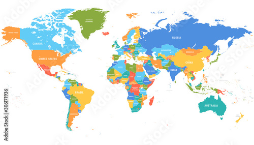 Fotomural Colored world map