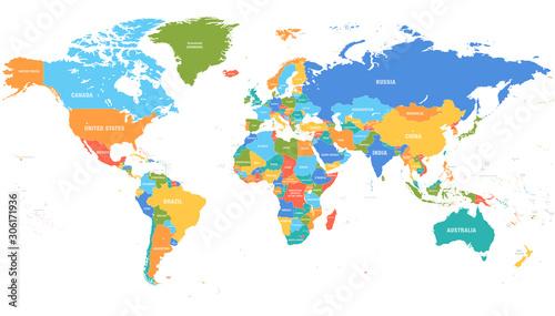 Cuadros en Lienzo Colored world map