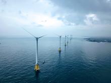 Off Shore Wind Turbine In The Sea