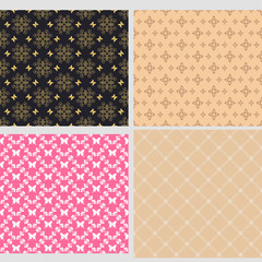 Set of four background wallpapers for your design. Trendy stylish texture. Colors image: black, pink, gold, beige. Graphic design templates, background seamless patterns. Vector set.