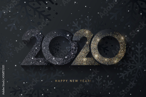 Obraz na plátně Happy New Year 2020 beautiful sparkling design of numbers on black background with texture of black snowflakes and shining falling snow