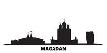 Russia, Magadan City Skyline Isolated Vector Illustration. Russia, Magadan Travel Cityscape With Landmarks