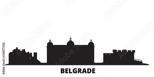 Serbia, Belgrade city skyline isolated vector illustration. Serbia, Belgrade travel cityscape with landmarks