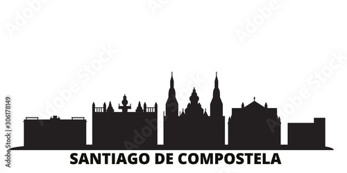 Cuadros en Lienzo Spain, Santiago De Compostela city skyline isolated vector illustration