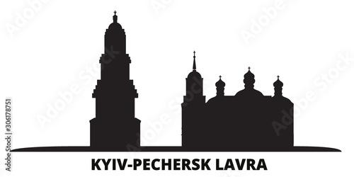 Ukraine, Kyiv, Pechersk Lavra city skyline isolated vector illustration. Ukraine, Kyiv, Pechersk Lavra travel cityscape with landmarks
