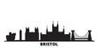 United Kingdom, Bristol city skyline isolated vector illustration. United Kingdom, Bristol travel cityscape with landmarks