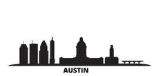 United States, Austin City Skyline Isolated Vector Illustration. United States, Austin Travel Cityscape With Landmarks
